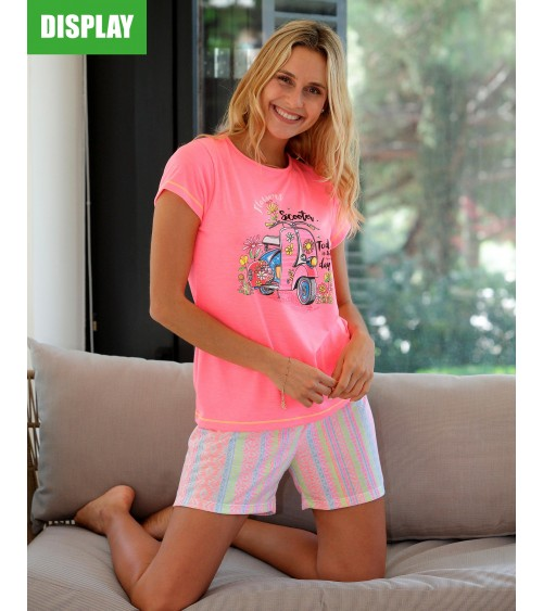 "SHORT SLEEVE MASSANA WOMEN'S PAJAMA ""FLUORESCENT"""