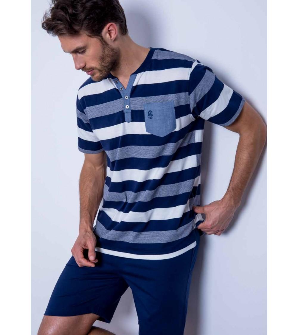 "Admas men's short-sleeved pajamas ""Stripes"""