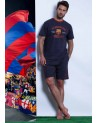 Men's short-sleeved pajamas F.C. BARCELONA 100% Cotton