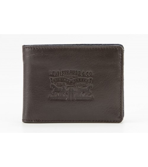 Levi's Men's Leather Wallet Denim inside
