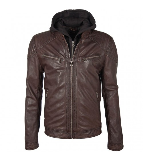 MEN'S GIPSY AGED LEATHER JACKET WITH REMOVABLE HOOD