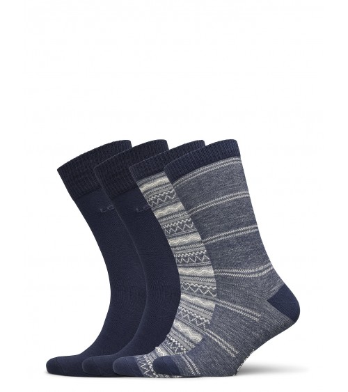 BOX 4 LEVIS SOCKS FOR MEN LEVIS GIFTBOX REG CUT DENIM FAIR ISLE 4P