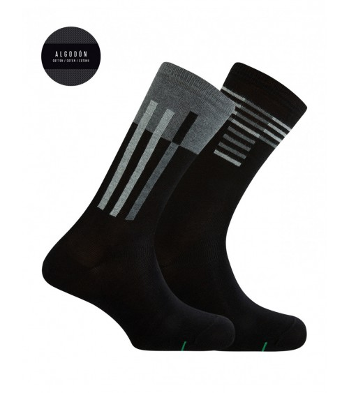 2-PACK OF MAN'S SPORTS SOCKS IN WHITE KNITTED COTTON IN STRIPES