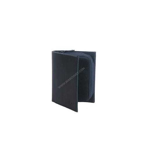 Cartera de Piel LEE negra con monedero con cremallera