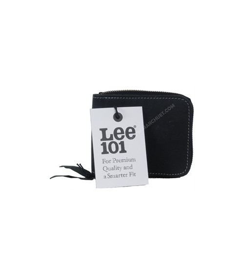 LEE 101 PREMIUM Black Leather Wallet Men's billfold