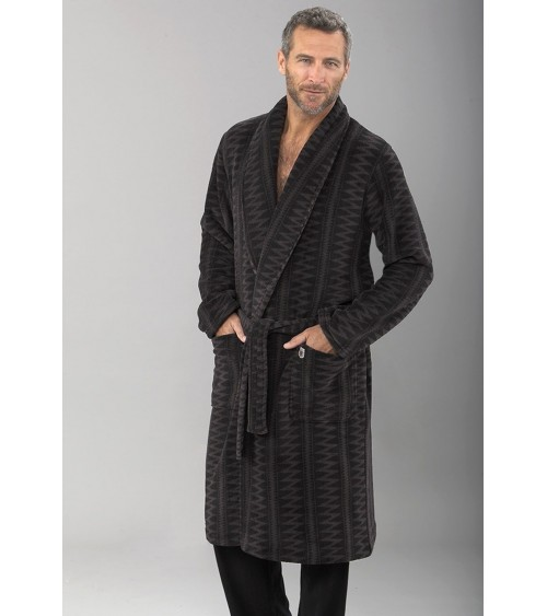 Mens Velvet Dressing Gown MASSANA Soft and Warm Winter Nightwear
