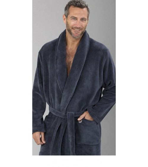 Mens Velvet Dressing Gown MASSANA Soft Winter Nightwear dark grey