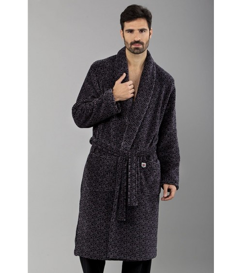 Mens Velvet Dressing Gown MASSANA Soft Winter Nightwear
