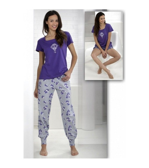 Women's Pyjama 3 Set MASSANA Nightwear Short Sleeve with shorts and long pants