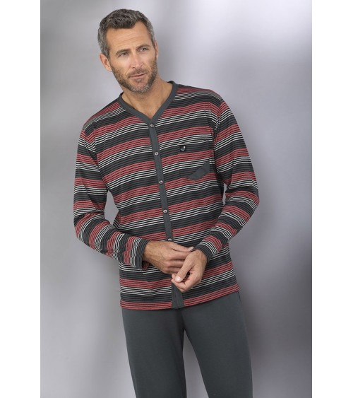 Massana Men's Open Pajamas Set Long Sleeve Stripes Pjs Pyjama