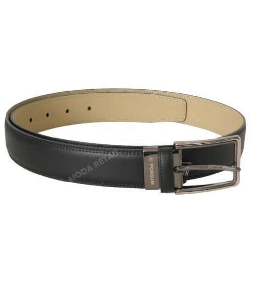 "Mens Leather Belt POSSUM Black Top Quality ""Box Mate"""