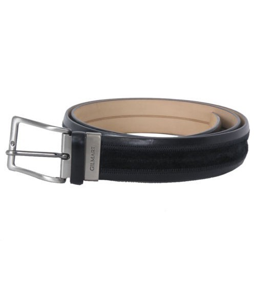 Mens Leather Belt classic GILMART Black Top Quality 2 textures