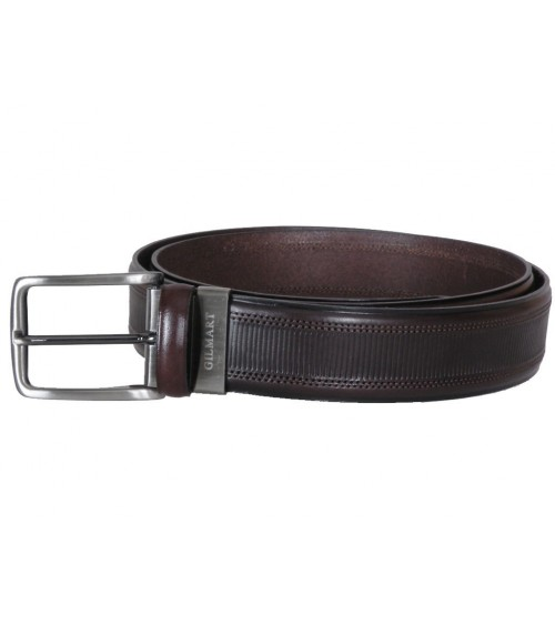 Mens Brown Leather Dress Belt GILMART Top Quality
