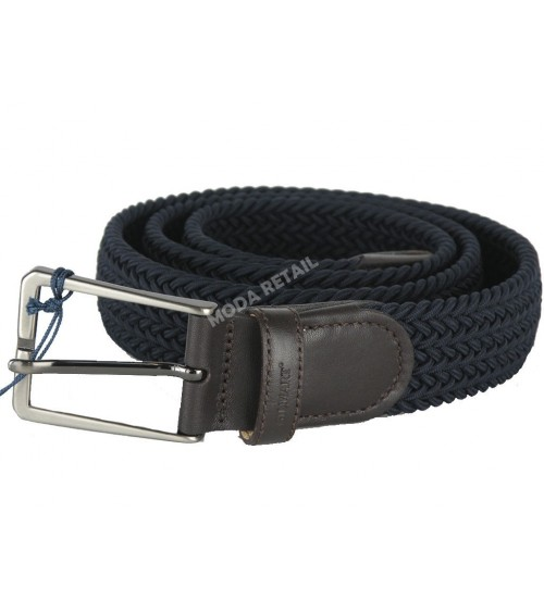 "Mens Elasticated Fabric Woven Braided Stretch Webbed Belt 1.2"" Metal Buckle"